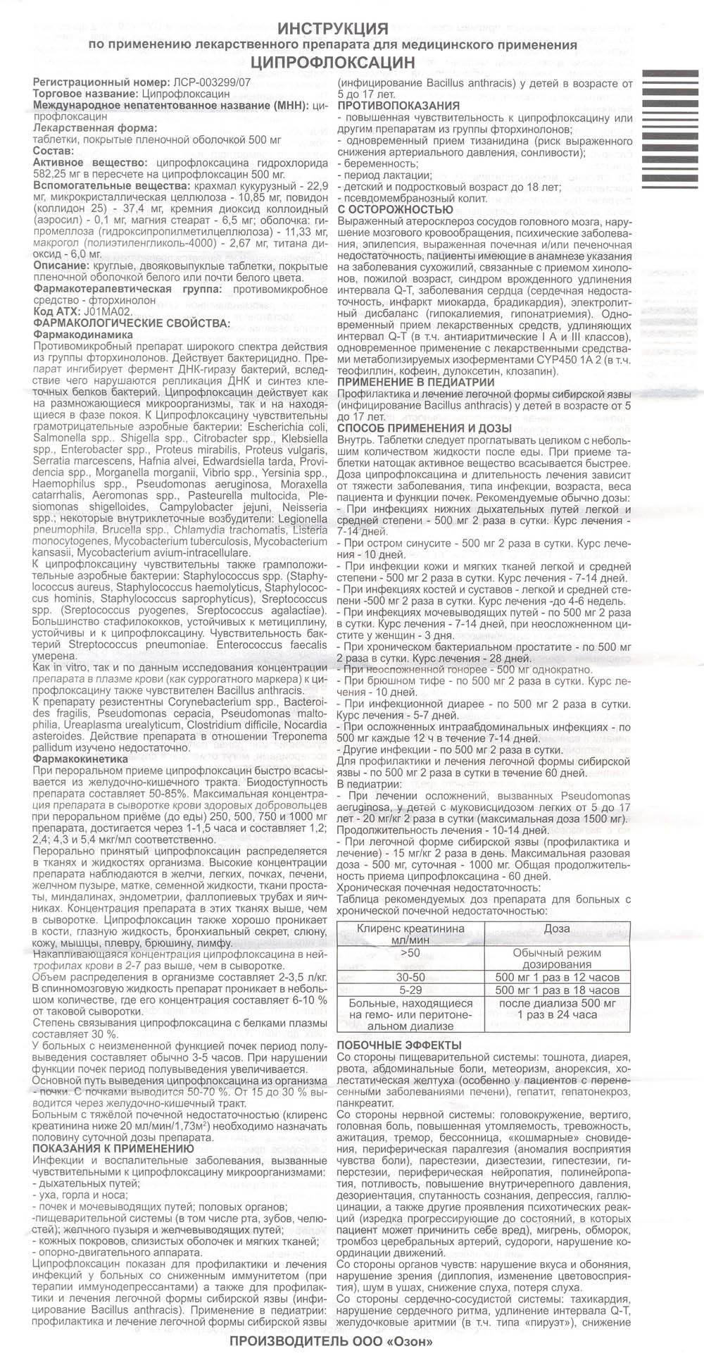 Циплофлоксацин инструкция